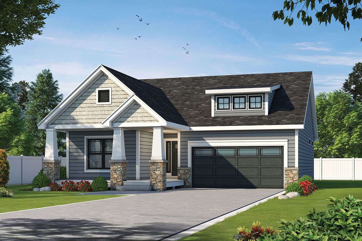 House Plan 402 01604 Craftsman Plan 1 584 Square Feet 2 Bedrooms 2 Bathrooms In 2021 Craftsman Style House Plans Gable Roof Design Empty Nester House Plans