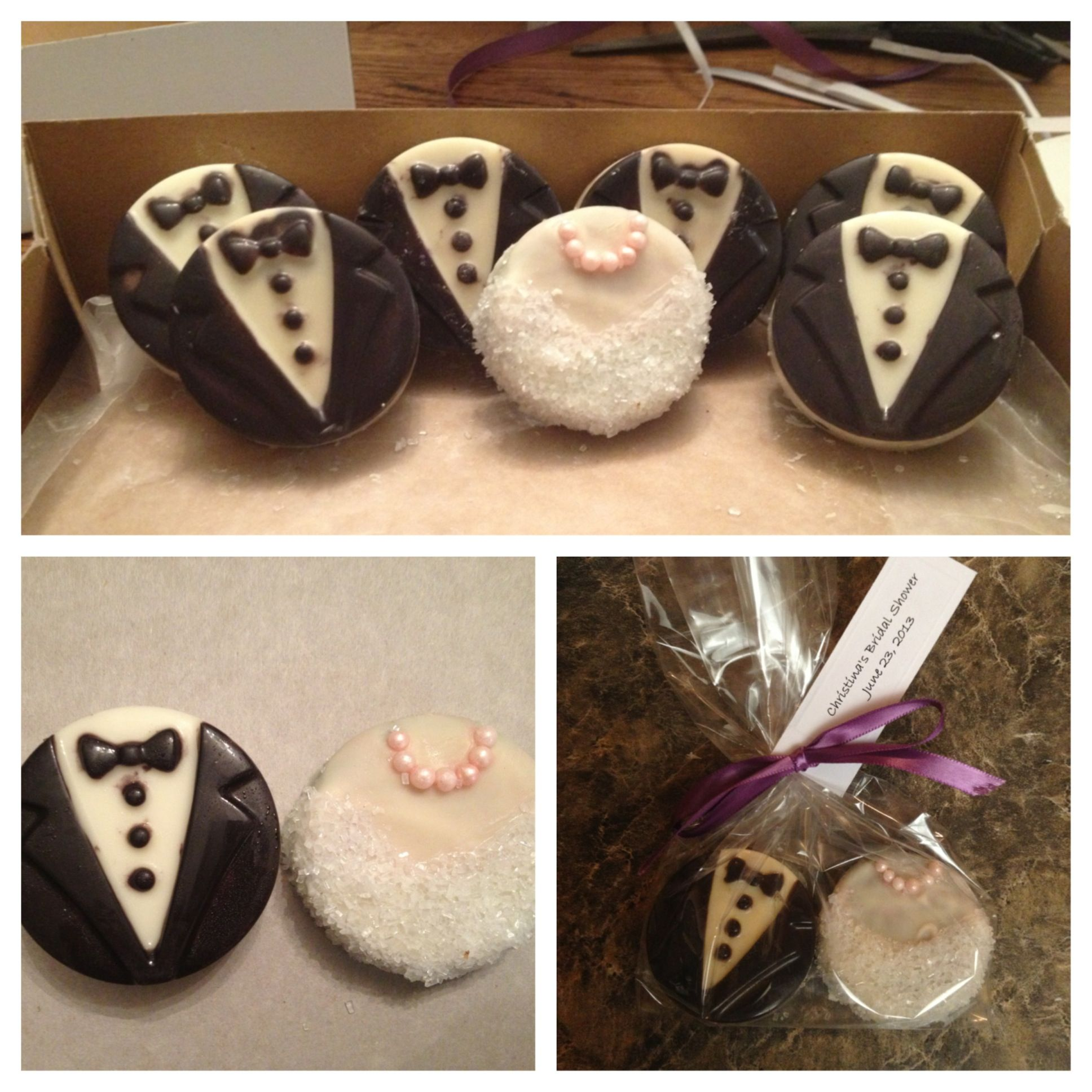 craft ideas for bridal shower favors%0A Wedding shower favors  Bride and groom Oreo cookies  So happy with how  these turned
