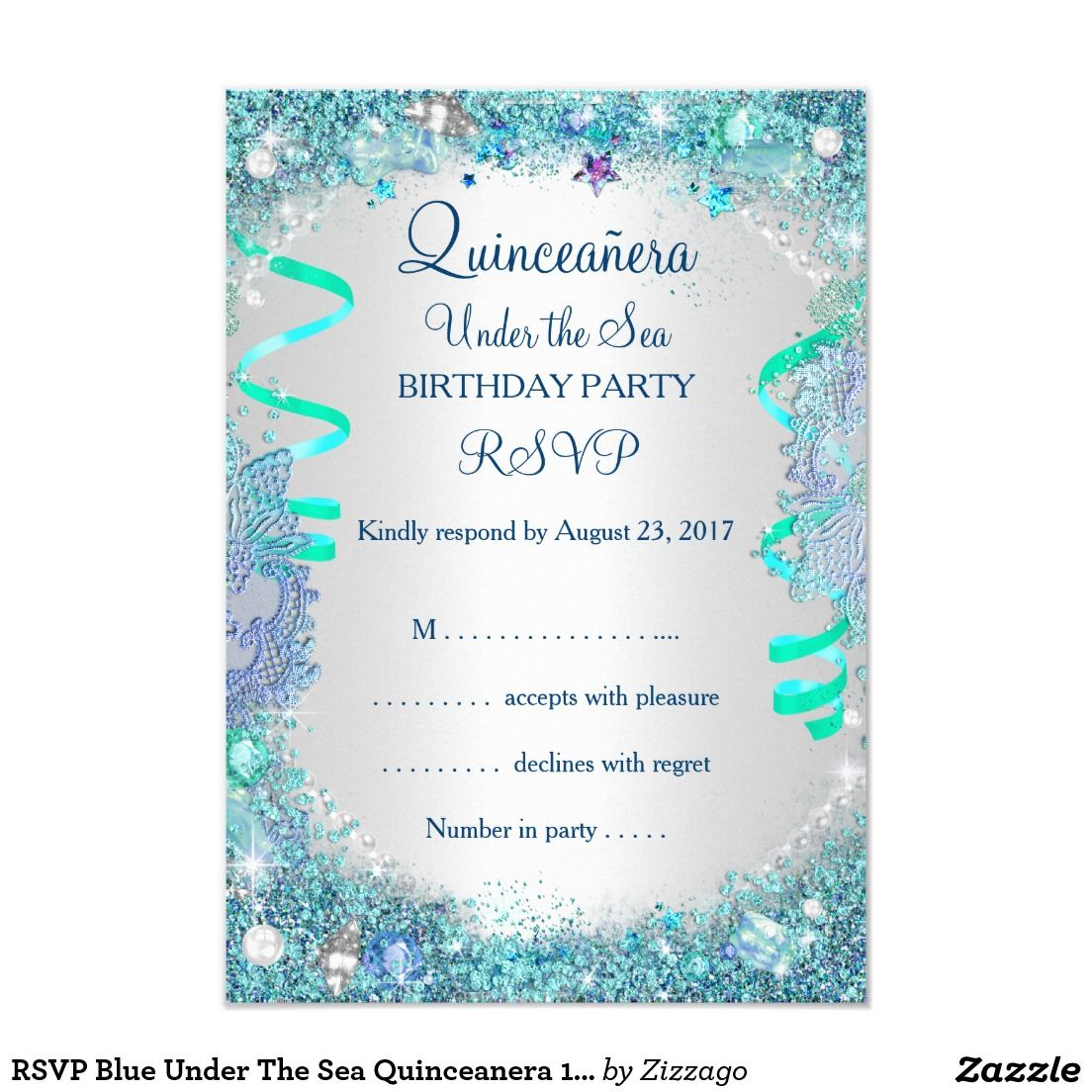 RSVP Blue Under The Sea Quinceanera 15th Birthday | An invitation ...