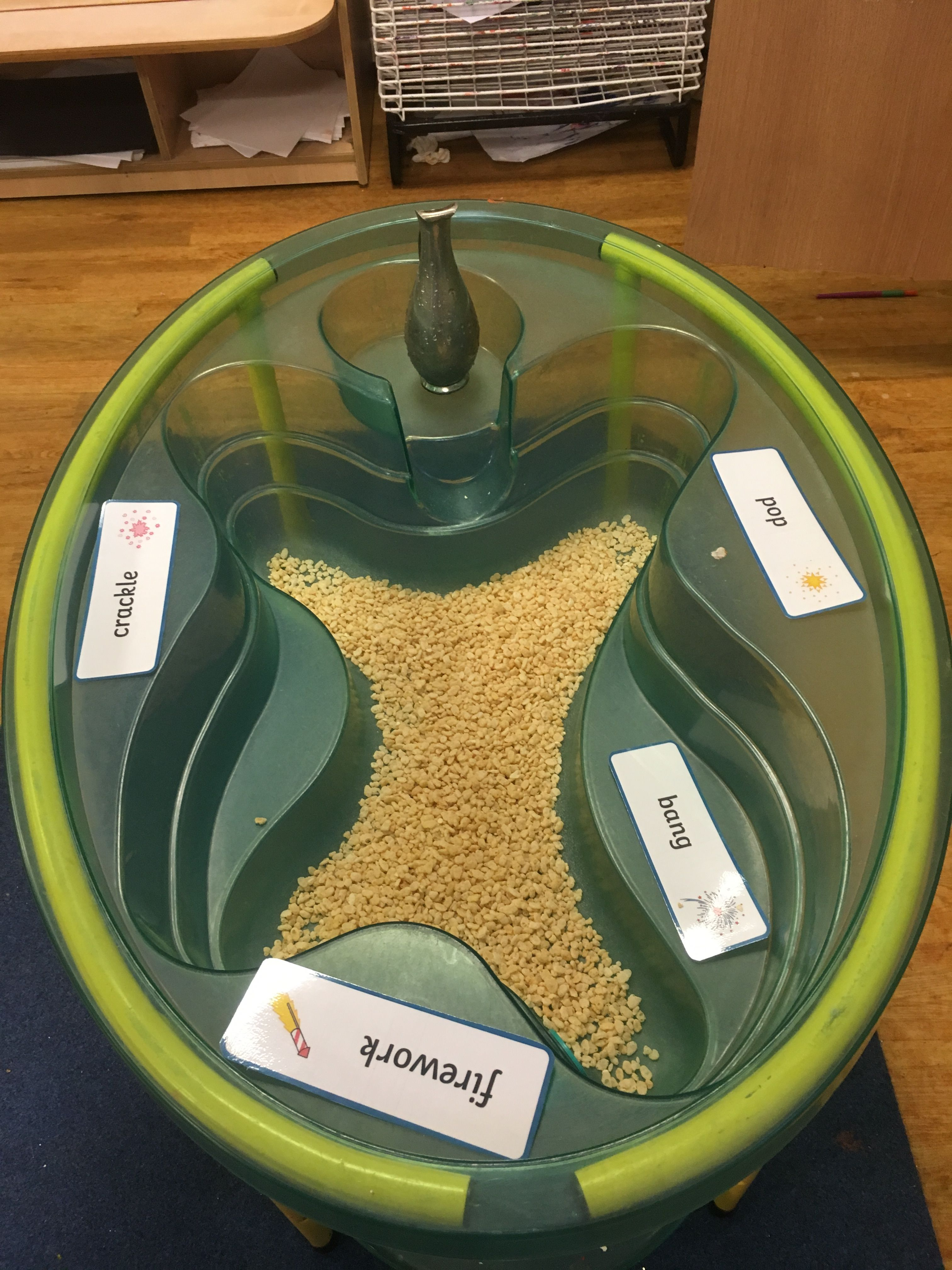 Rice crispies in the water tray, firework sounds, phonics, nursery, EYFS. By Miss Grey and Play! #fireworkseyfs