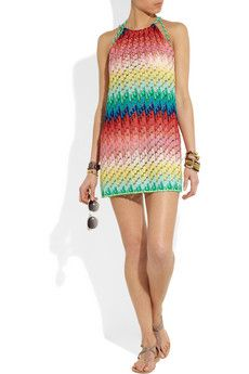 Missoni's colorful mini dress of crochet-knit fabric and unlined finish make it the perfect beach coverup.