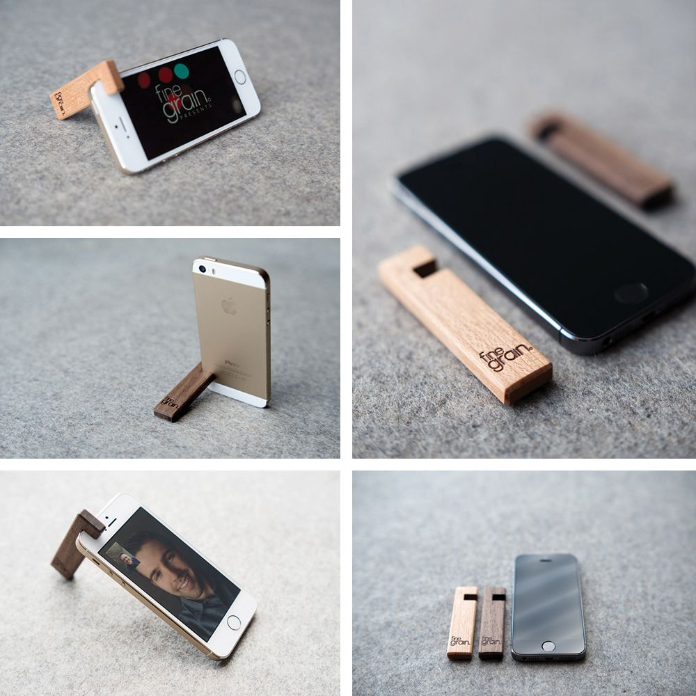 Get inspired wooden iphone stand from finegrain lab