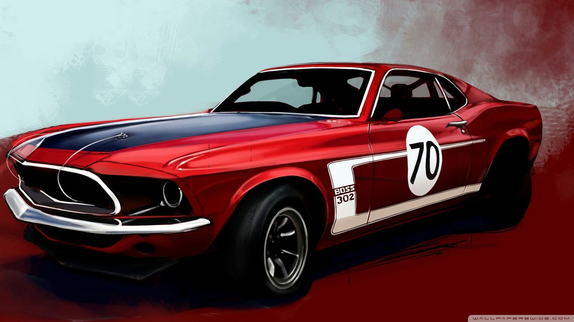 Classic Ford Mustang Boss Art X Bros Apparel Vintage Motor T Shirts Classic Muscle Cars Great Pr Ford Mustang Boss Mustang Wallpaper Classic Cars Muscle