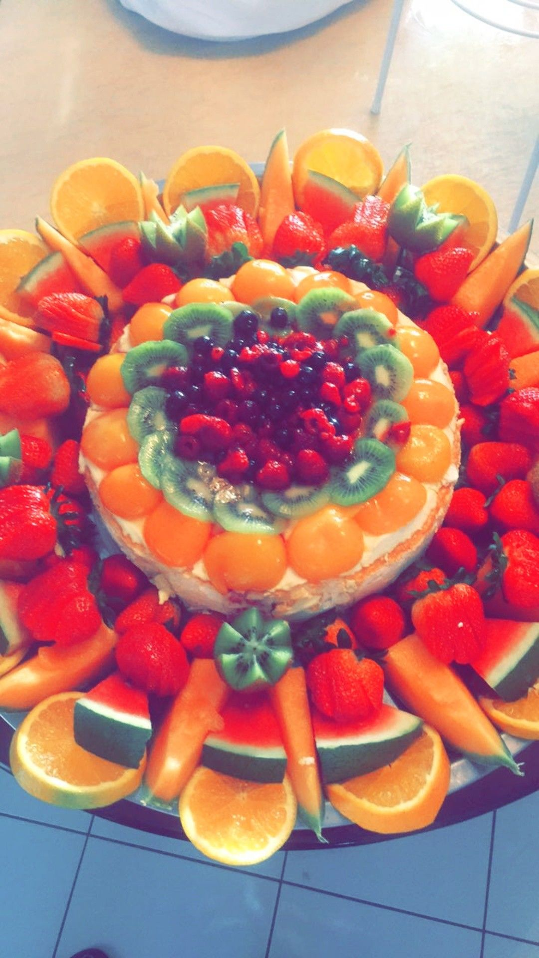 I Made This Home Made Fruit Platter In The Centre Is A Pavlova I Broight From Costco Pavlova Fruit Platter Platters