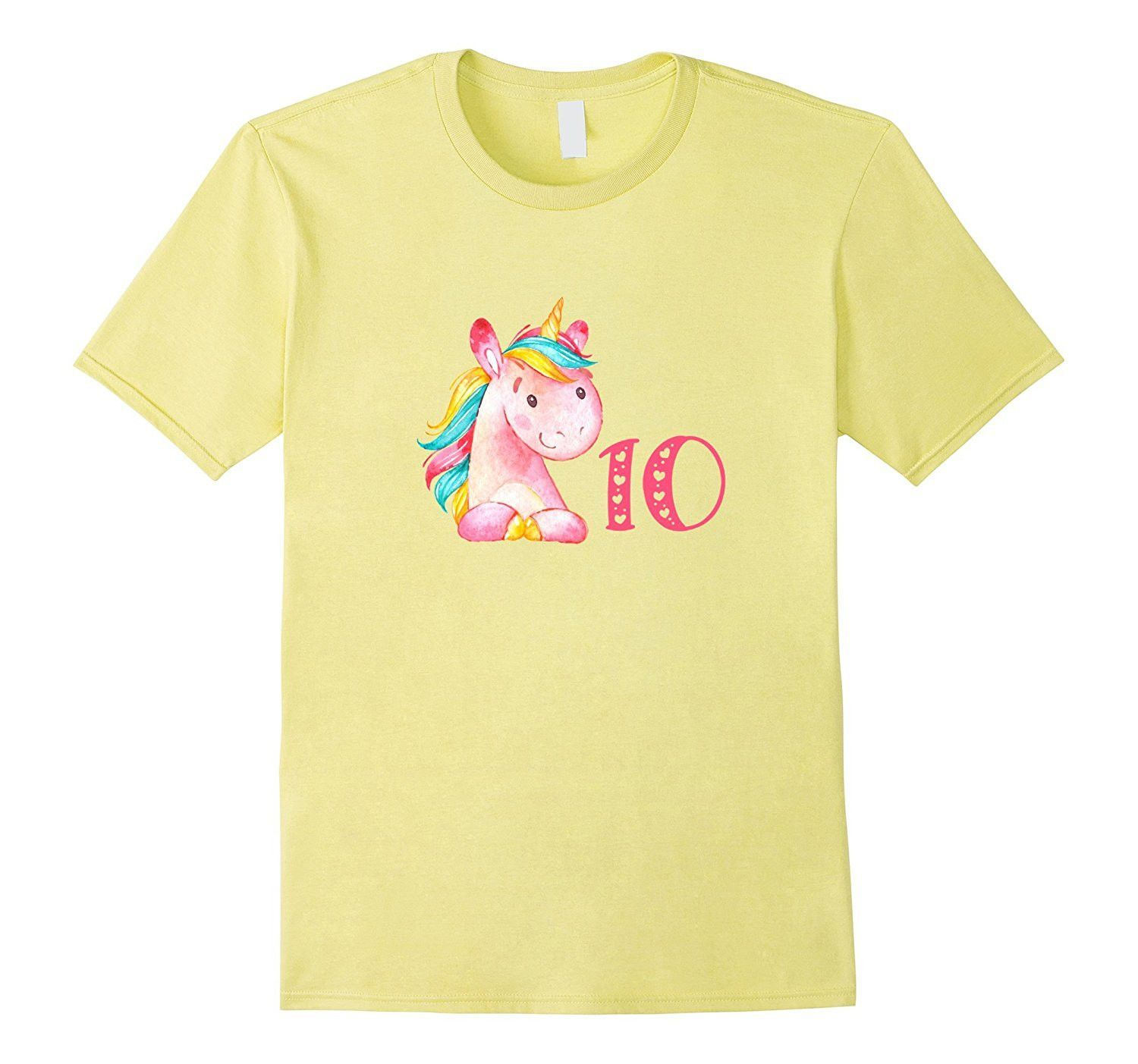 Cute Pink Unicorn 10 Birthday T Shirt For Ten Year Old