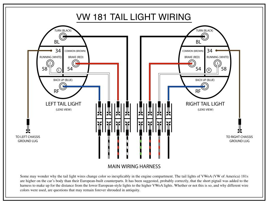 Taillight diagram   vocho   Vw vocho, Vocho y Escarabajo