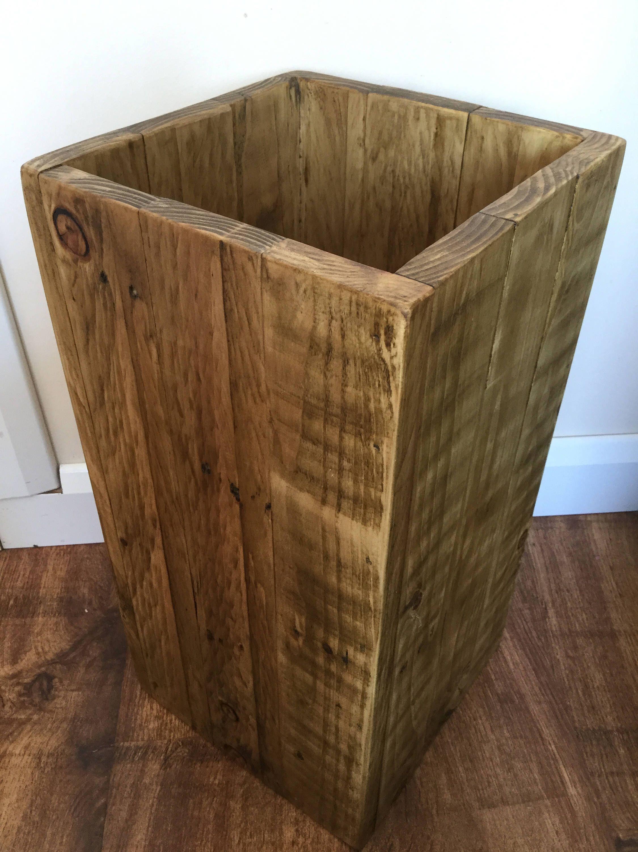 large wooden bin - waste paper bin - bathroom bin - reclaimed wood