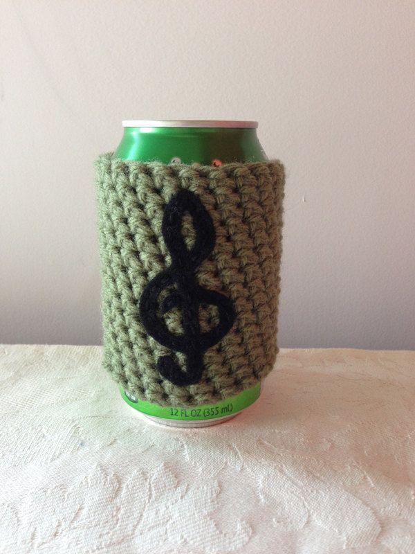 Treble Clef Music Note Crochet Beer Koozie In Lime Green Coffee Cup