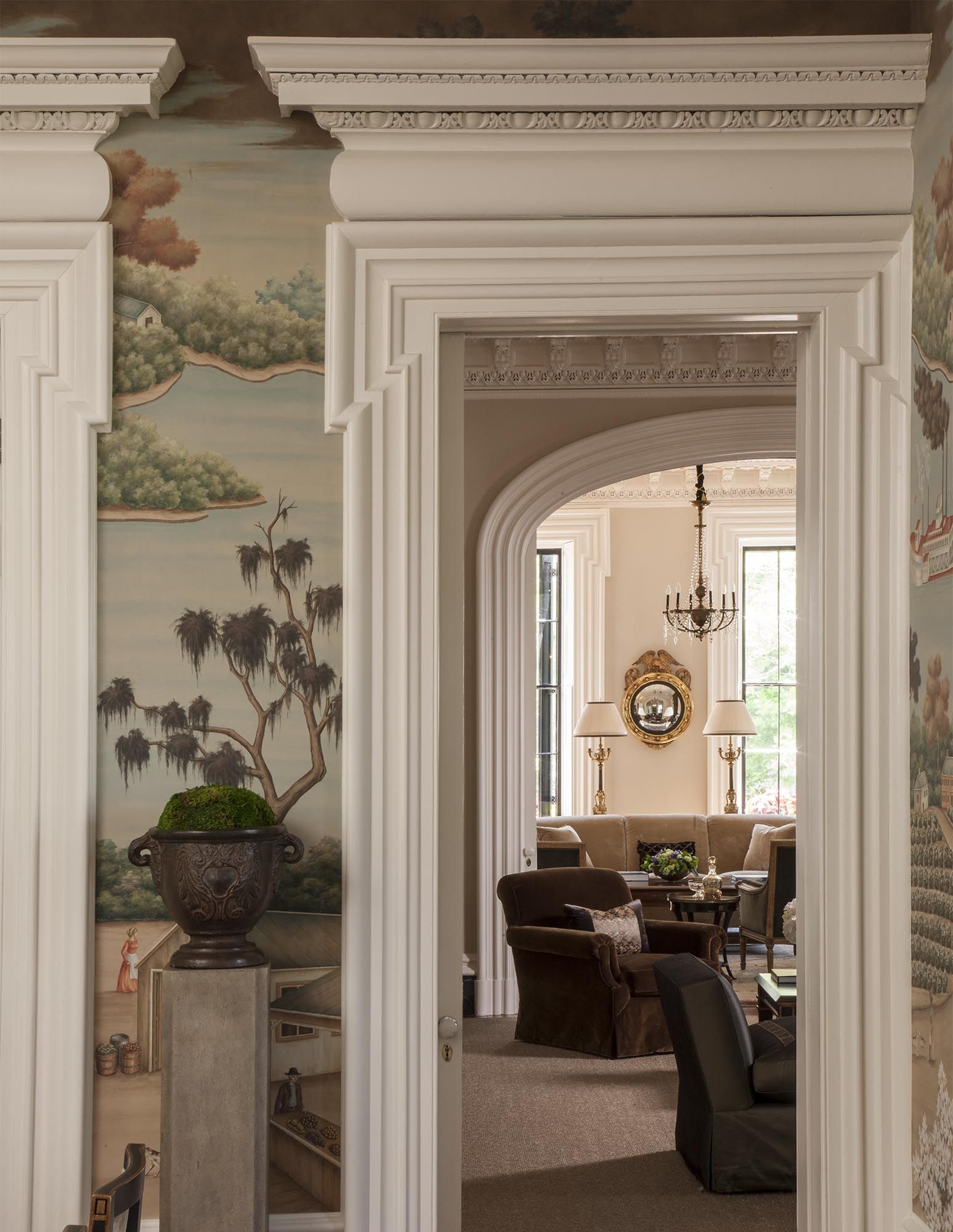 Historic Charleston crown molding enhanced by a Gracie Studio wall
