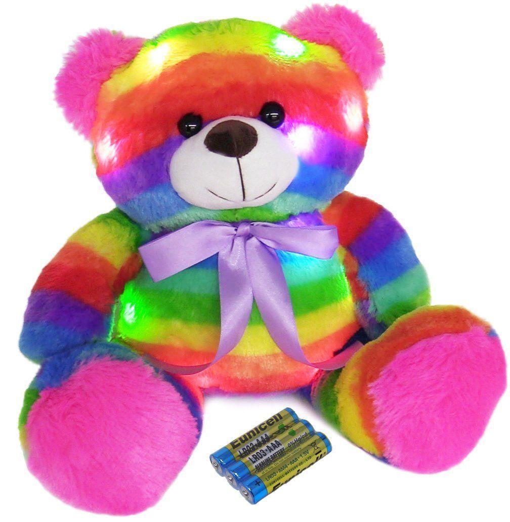 "LED Light Up Rainbow Teddy Bear 16"" Stuffed Animal Night"