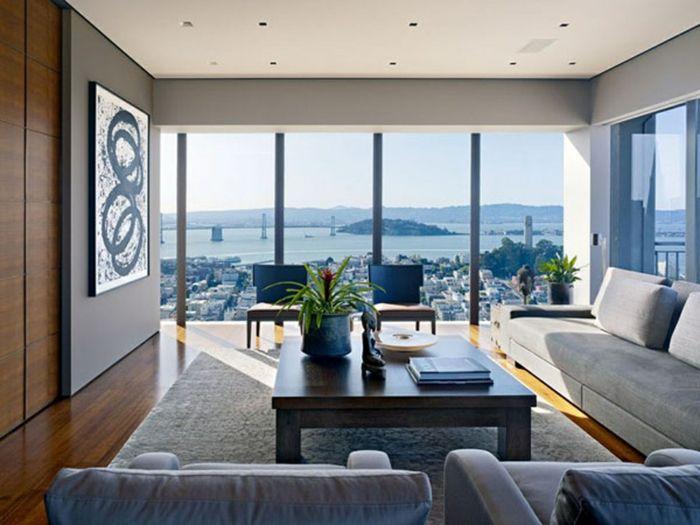 Große Glaswände   Interessante Wohnzimmer Einrichtung