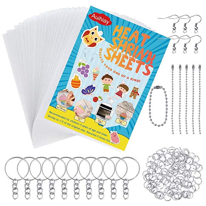 Amazon Com Auihiay 145 Pieces Heat Shrink Plastic Sheet Kit Include 20 Pcs Shrinky Art Paper With 125 Pcs Shrink Plastic Sheets Creative Crafts Creative Kids