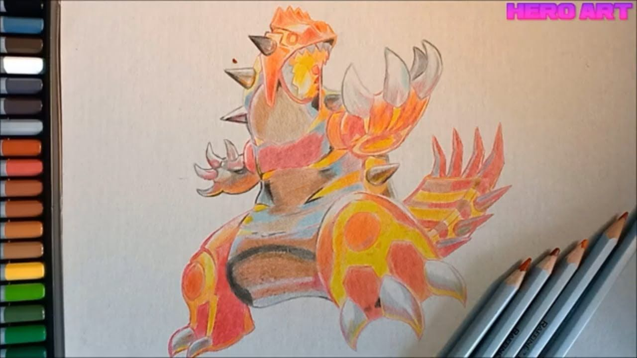 How to draw the legendary pokemon Groudon in the color of