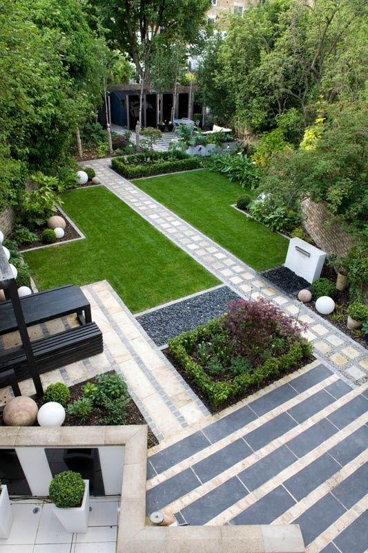 Garten, modern, Steinterrasse, Wiese, geradlinig, Pflanzen ...