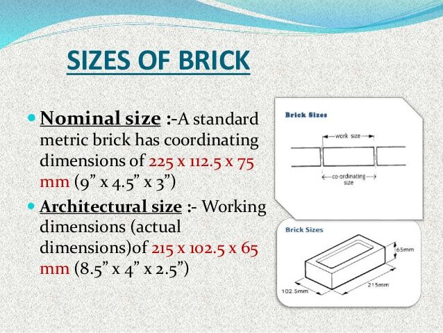 Sizes Of Brick Nominal Size A Standard Metric Brick Has Coordinating Dimensions Of 2 Civil Engineering Construction Business Civil Engineering Construction