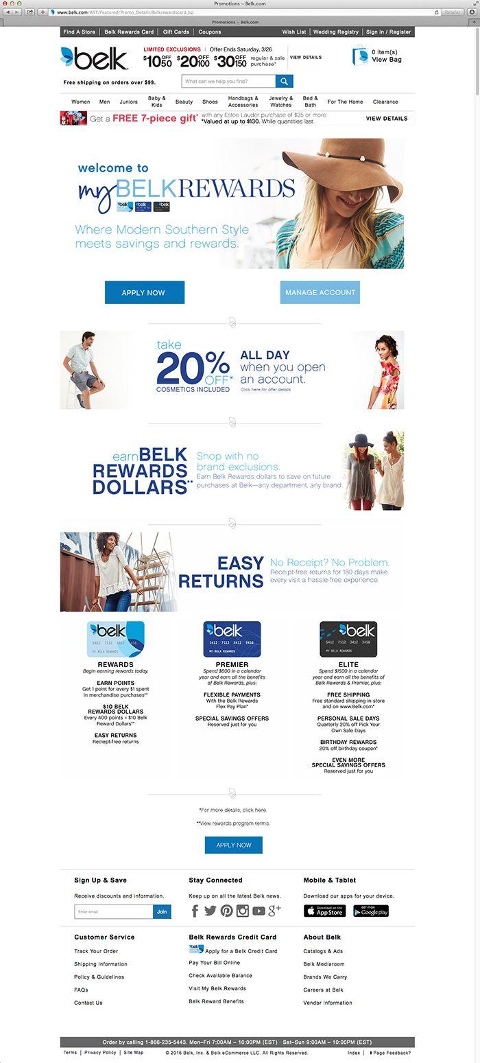 Belk Rewards Card Web Layout Jenni Jacobus Graphic Design