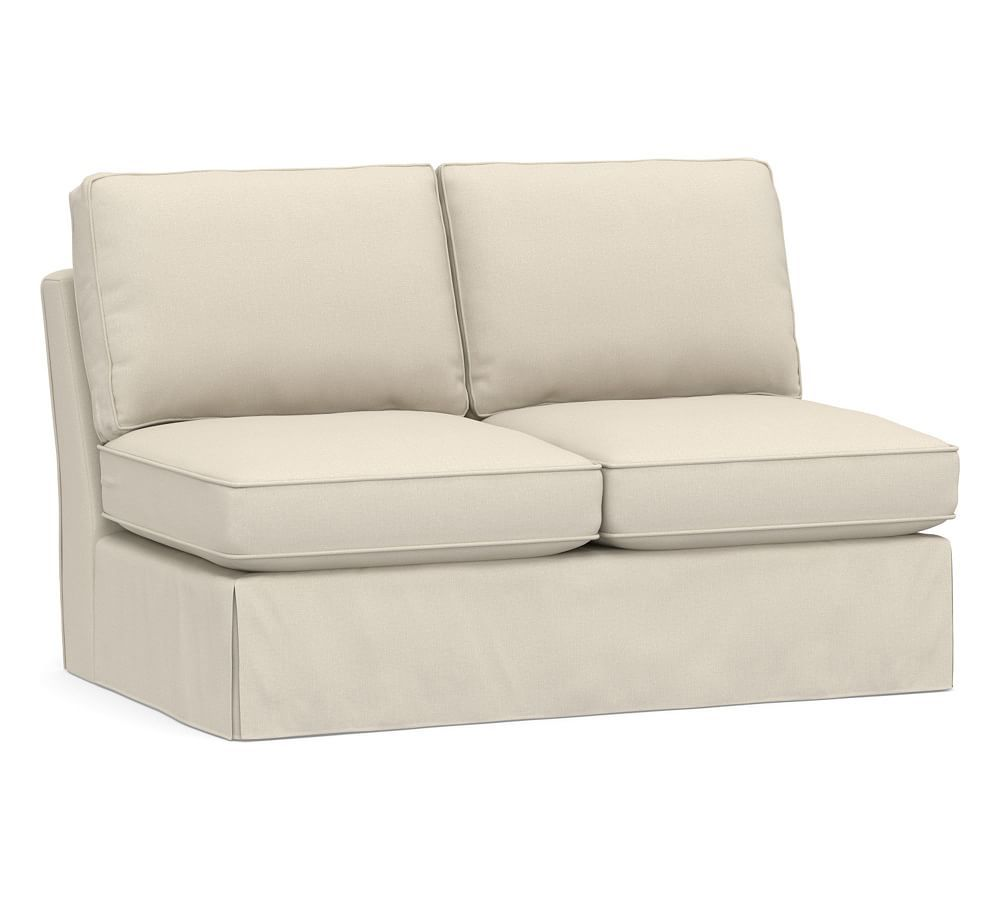 Pearce Slipcovered Armless Love Seat Down Blend Wrapped