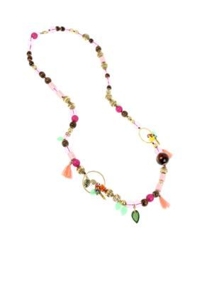 Betsey Johnson Women Gold-Tone Mixed Beaded Long Necklace -  - No Size