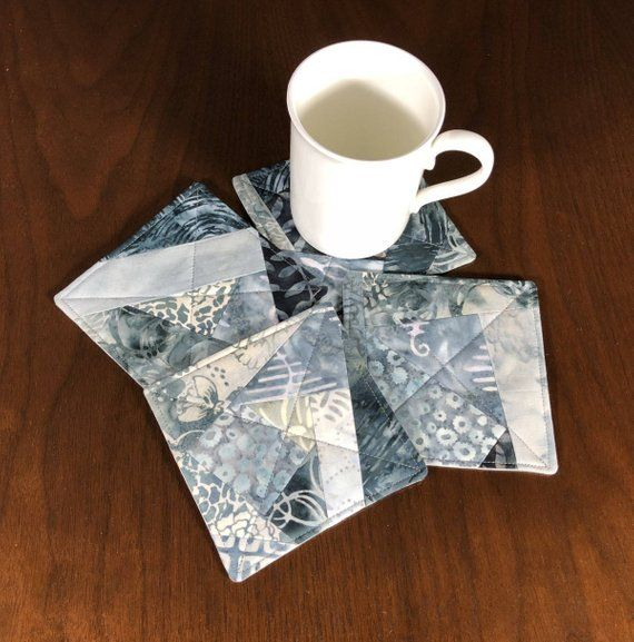 """Mug Rug Coasters Fall Shapes 4/"""" By 4/"""" Handmade Quilted Set Of 4 100/% Cotton."""