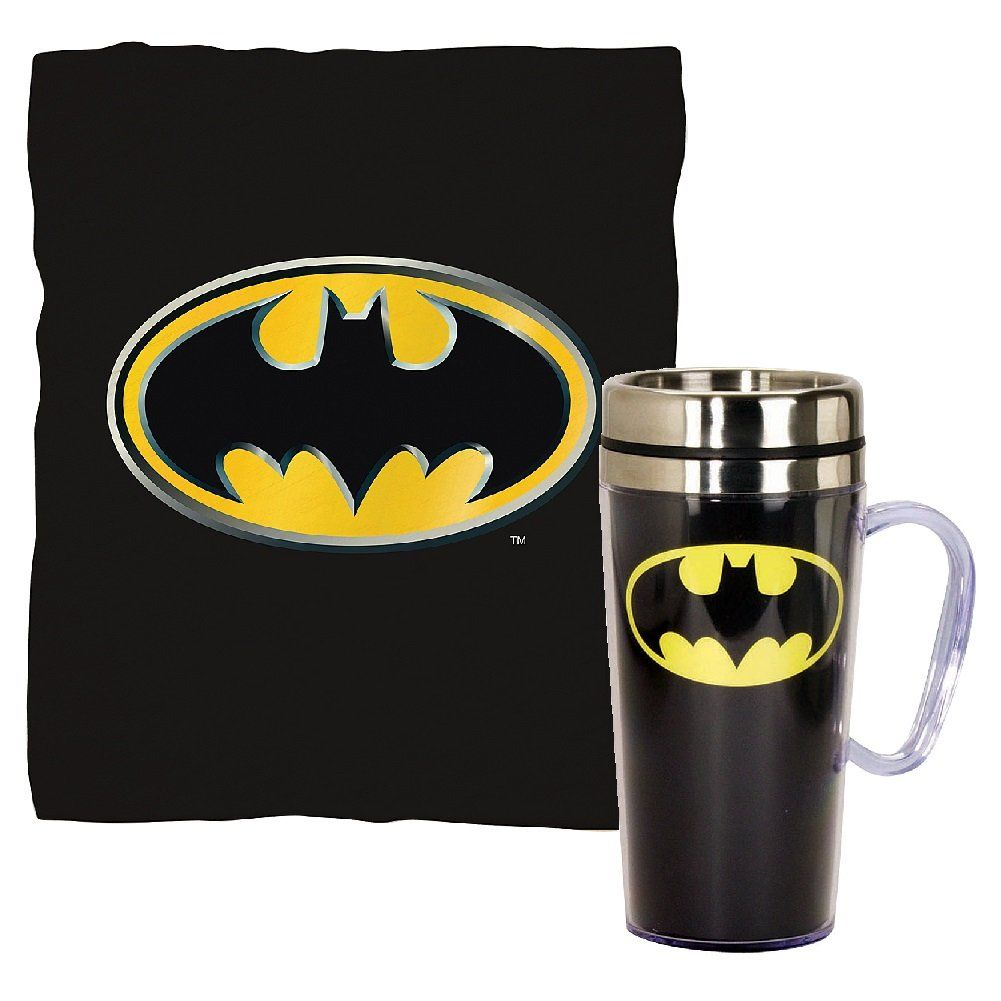 (Set) DC Comics Batman Emblem 15 Ounce Travel Mug And Fleece Throw Blanket  -- Awesome products selected by Anna Churchill ac23bd7af