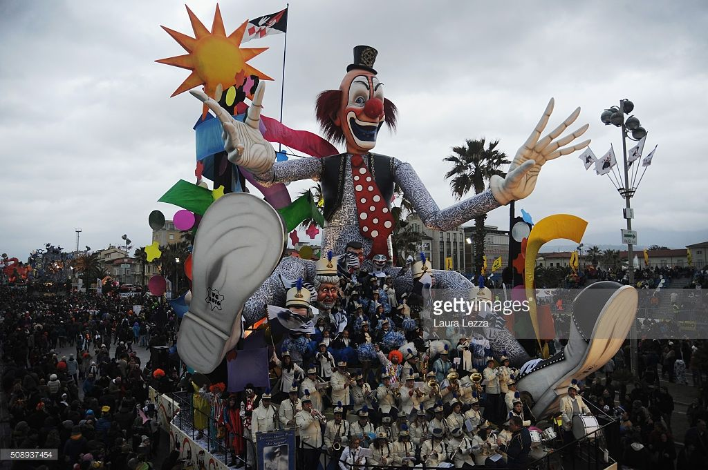 A giant paper-mache float depicting a clown moves through the streets of Viareggio during the traditional Carnival of Viareggio parade on February 7, 2016 in Viareggio, Italy. The Carnival of Viareggio is considered one of the most important carnivals in Italy and is characterised by its giant paper-mache floats depicting caricatures of popular characters, politicians and fictional creations.
