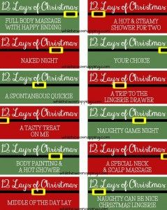 printable 12 lays of christmas coupons for couples christmas from