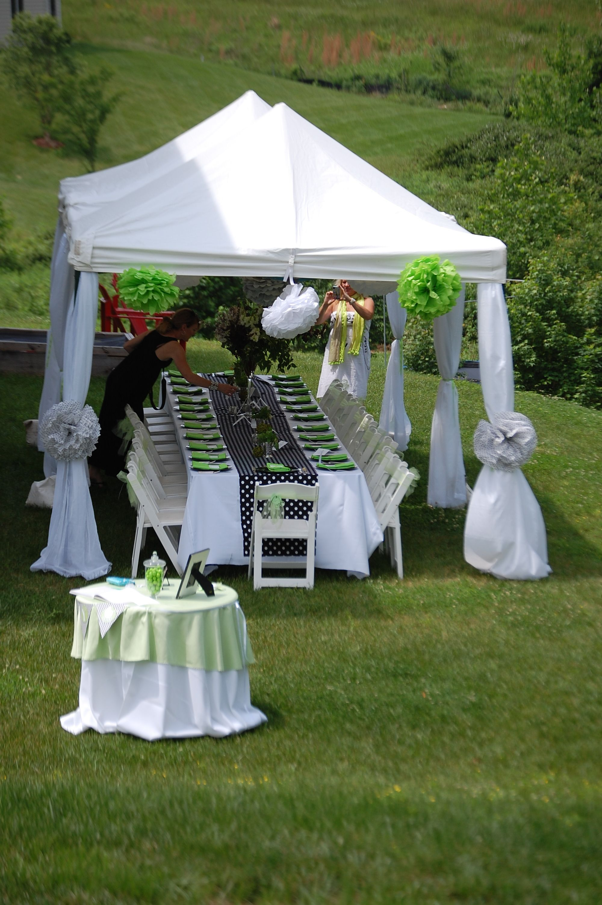 Black white and lime baby shower magnolia limes and babies for Outdoor party tent decorating ideas