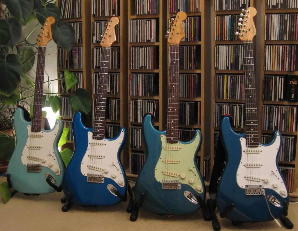 Fender Stratocaster blue paint jobs - from right to left Aqua Marine