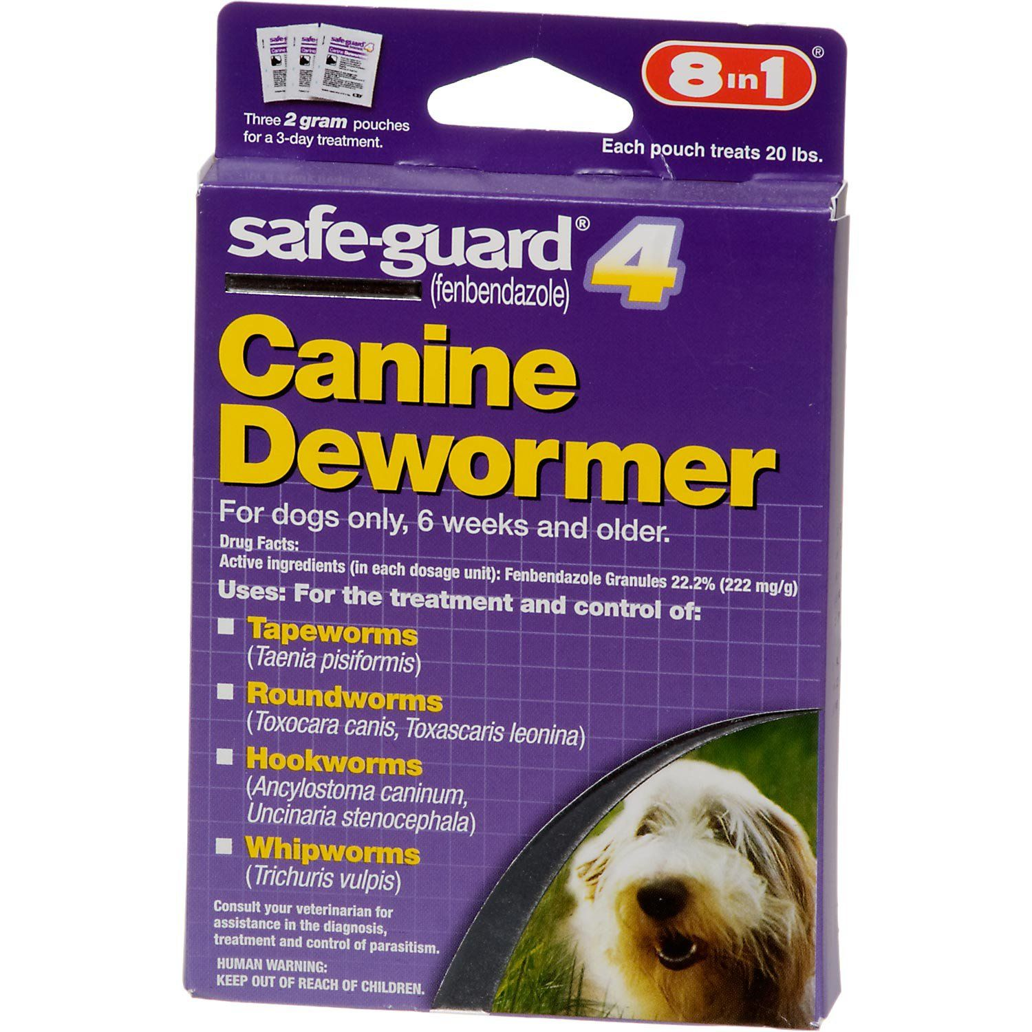8 In 1 Safe Guard 4 Canine Dewormer For Medium Dogs Pet Grooming