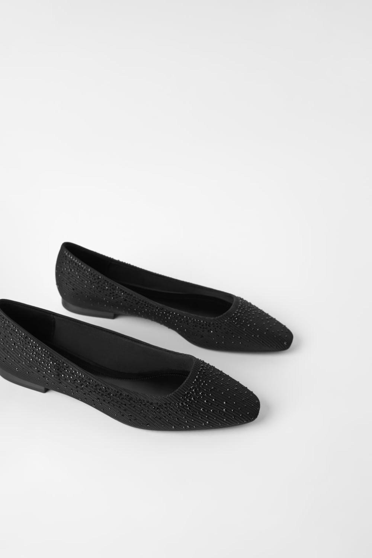 SPARKLY BALLET FLATS - Black shoes