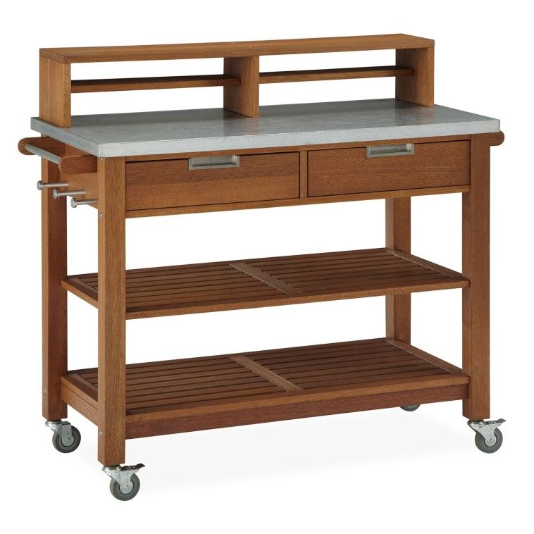 Wooden Outdoor Bar Cart On Wheels With Metal Countertop 2 Drawers Shelves And Height Table Also