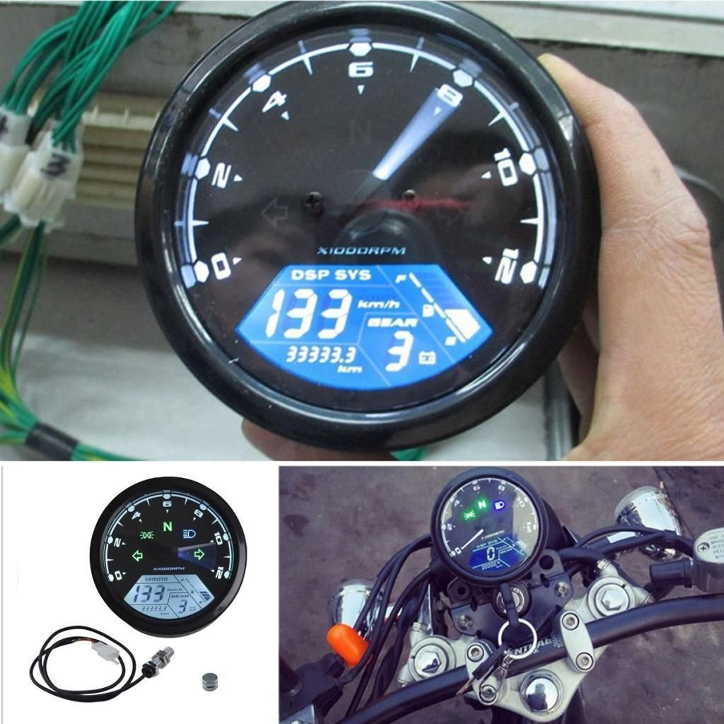Details About Lcd Digital 12000rpm Speedometer Tachometer For