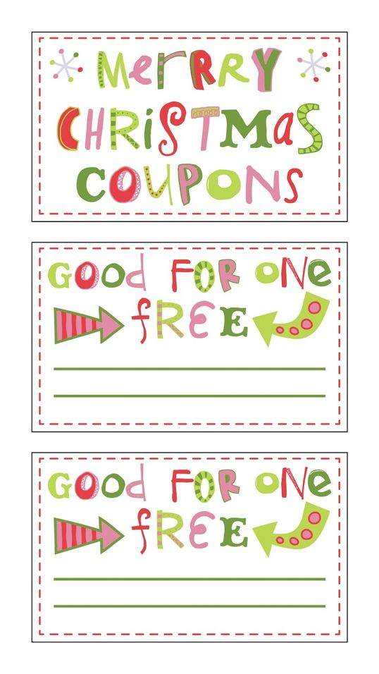 Holiday Printable Coupons  Christmas Coupons Template