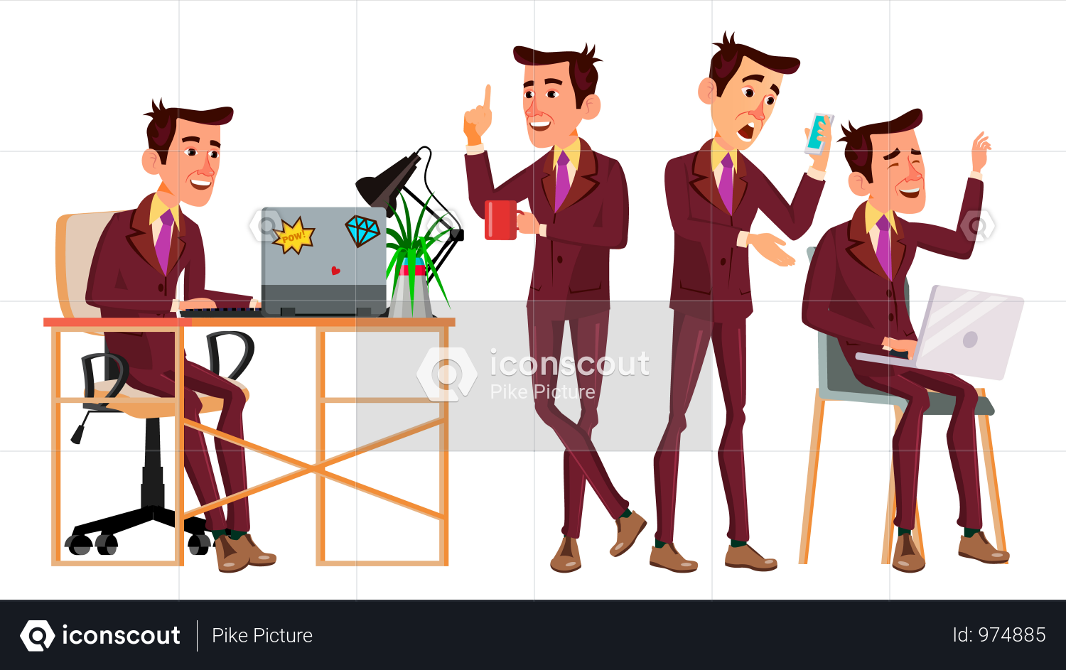 Office Worker With Working Gesture Illustration | Business