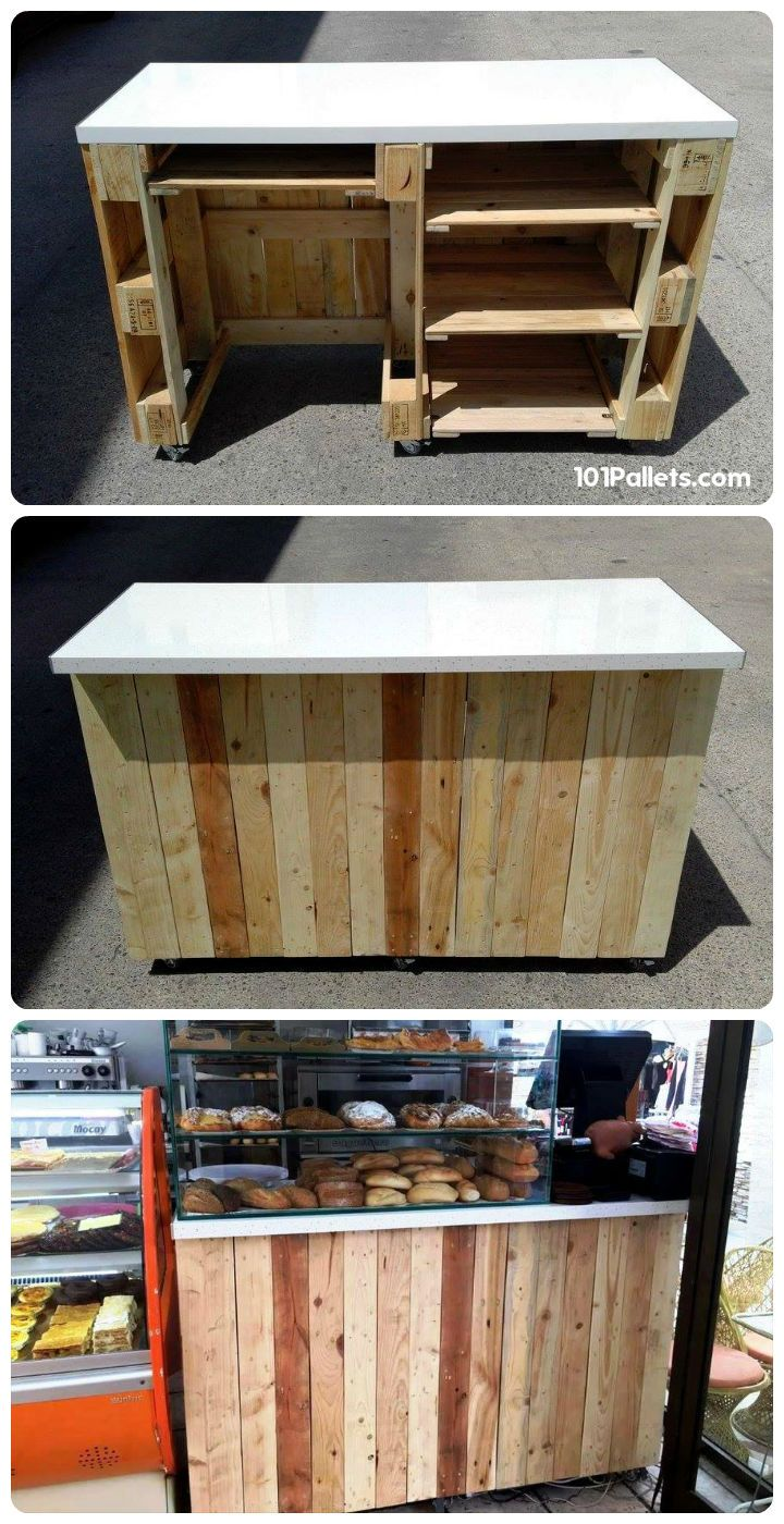 Pallet Counter With Wheels And Counter Top Pallet Counter Diy Wood Projects Furniture Wood Pallet Projects