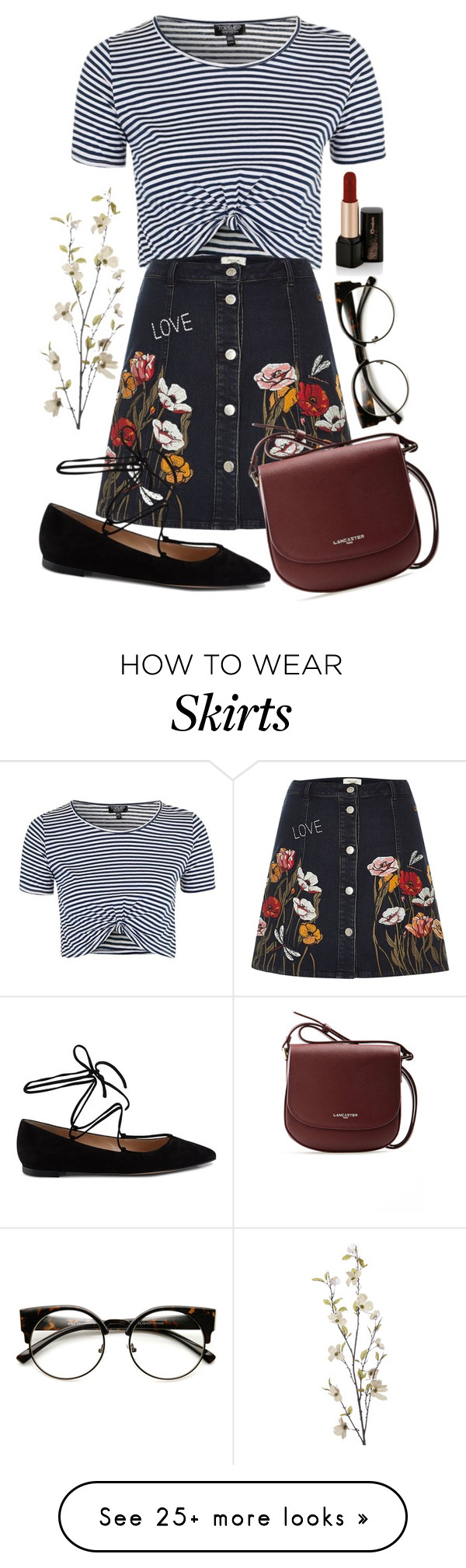 """Mandy"" by thefashionguilty on Polyvore featuring Topshop, River Island, Gianvito Rossi, Lancaster, Pier 1 Imports and ZeroUV"