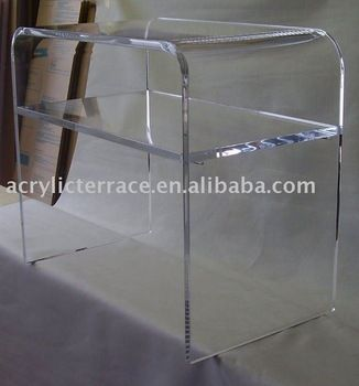 Acrylic SHELF Table TV Lucite Waterfall Home Theater