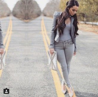 jacket jeans heels shoes sandals style fashion high heel sandals t-shirt shirt top outfit jumpsuit clutch clothes skinny jeans skinny pants pants bag all grey everything grey sexy grey t-shirt grey jeans grey top leather jacket carli bybel grey heels high heels