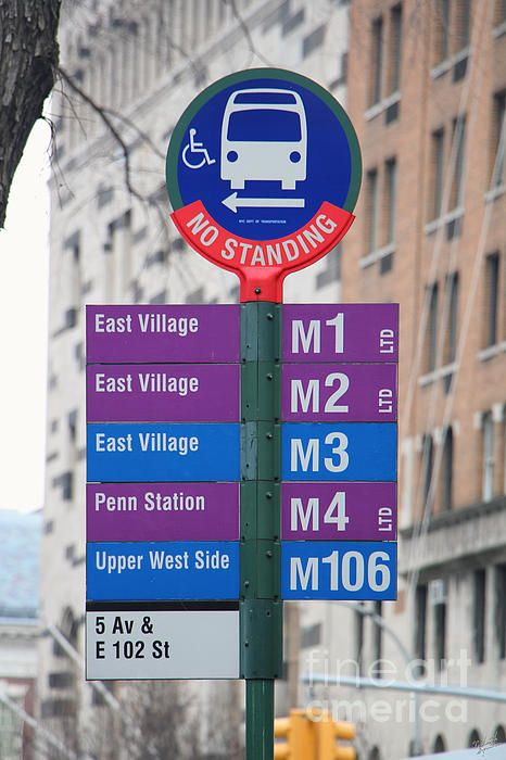 Mta Bus Stop Sign In New York City Buy Fine Art Canvas Prints