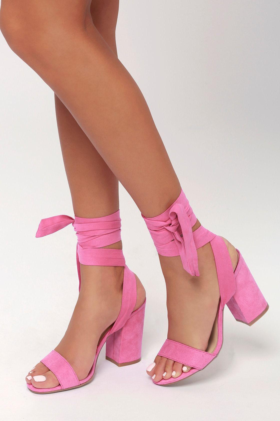 Alta Black Suede Lace Up Heels