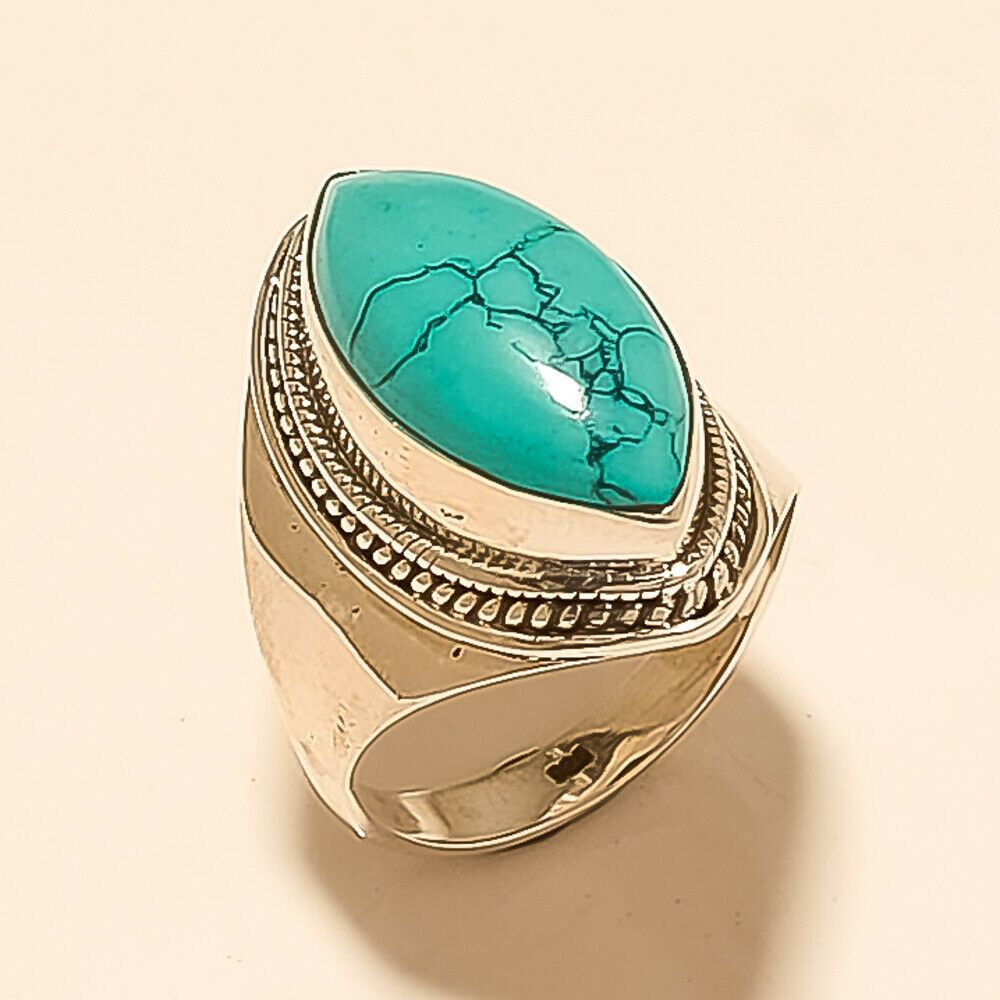 Natural Afghan Blue Turquoise Ring 925 Sterling Silver New