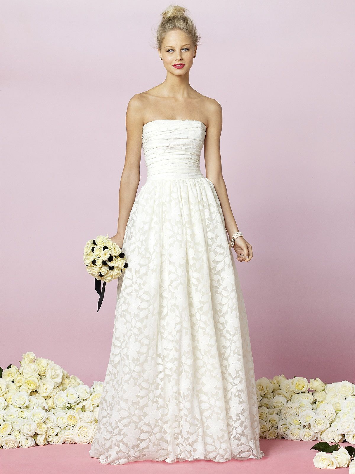Strapless heirloom lace dress with shirred bodice and full shirred ...