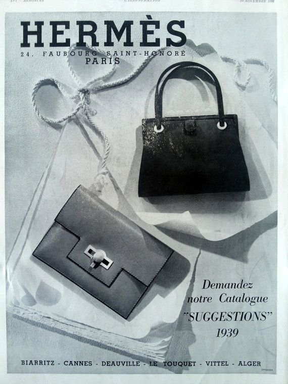 23e292ef64ce Revillon fur coat fashion advertising poster Hermes bags by OldMag