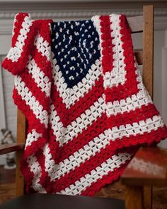 American Patriotic Flag Crochet Blanket - love my large single grannies!!