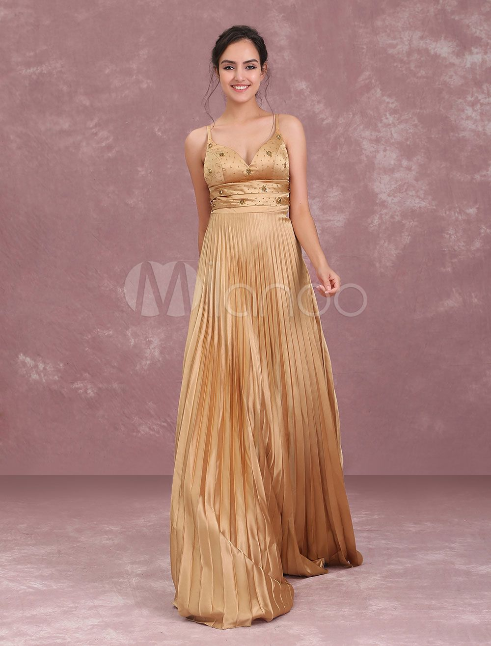 bfd9660210e Long Homecoming Dresses Light Gold Pleated Satin Prom Dress Spaghetti  Straps Beaded Floor Length Formal Slip Dress  Pleated