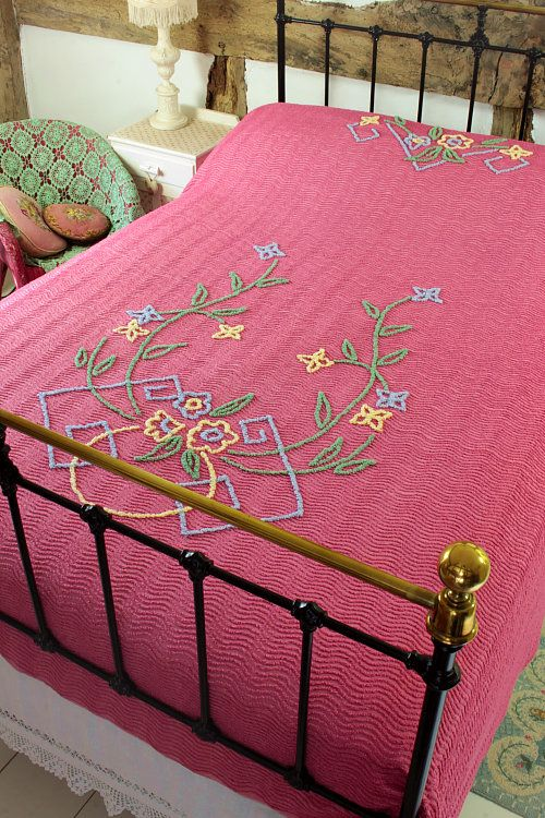 Vintage Home Rose Pink and Floral Candlewick Bedspread