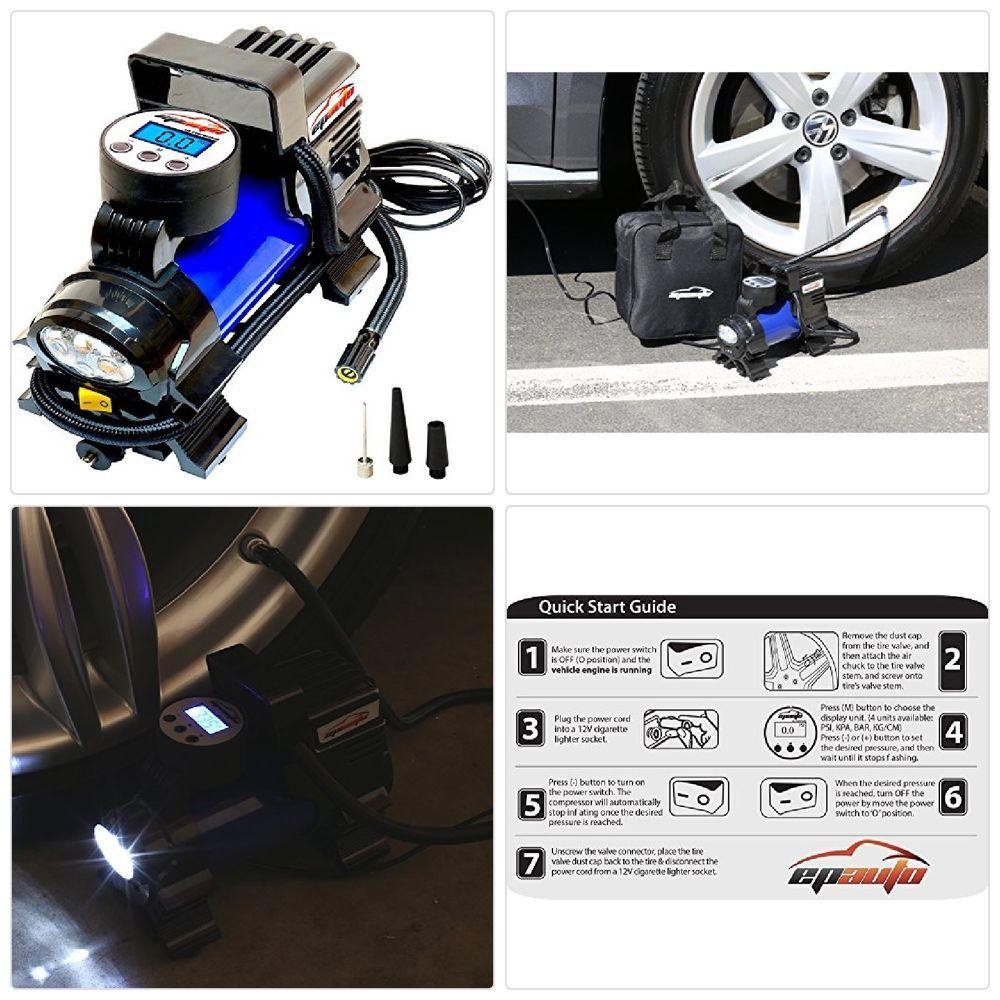 EPAuto 12V DC Portable Air Compressor Pump, Digital Tire
