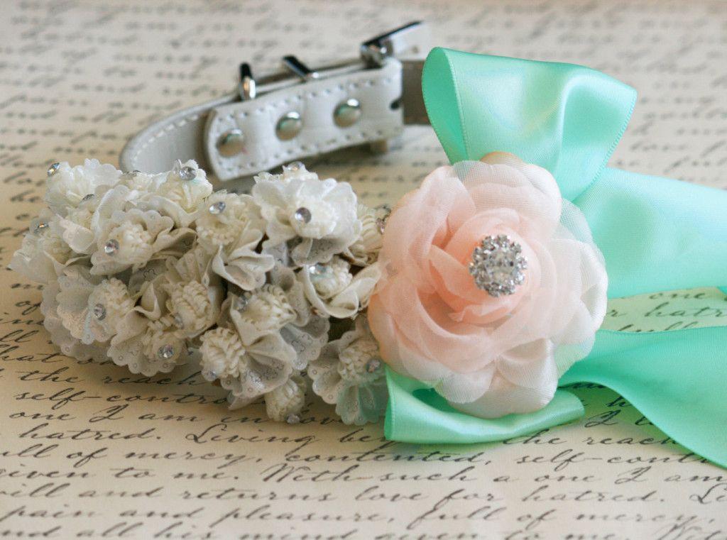 White, peach and mint Wedding Dog Collar  #white #peach #mint #wedding #floral #dog #collar #mintgreen #peachwedding #whitewedding #mintwedding #floralwedding #wedding #dogs #pets #animals
