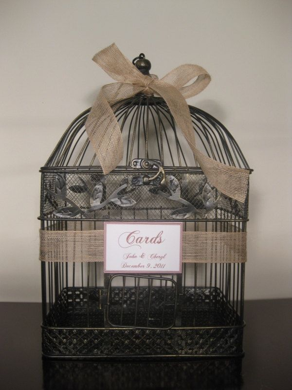 Wedding Card Box Birdcage Card Holder Rustic Wedding Burlap