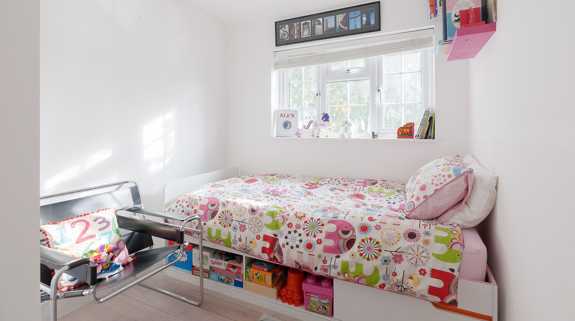 Even small spaces can be havens for children store toys under the